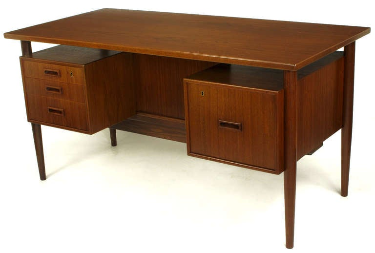 Danish teak executive desk with floating drawers for sale for Floating desk for sale