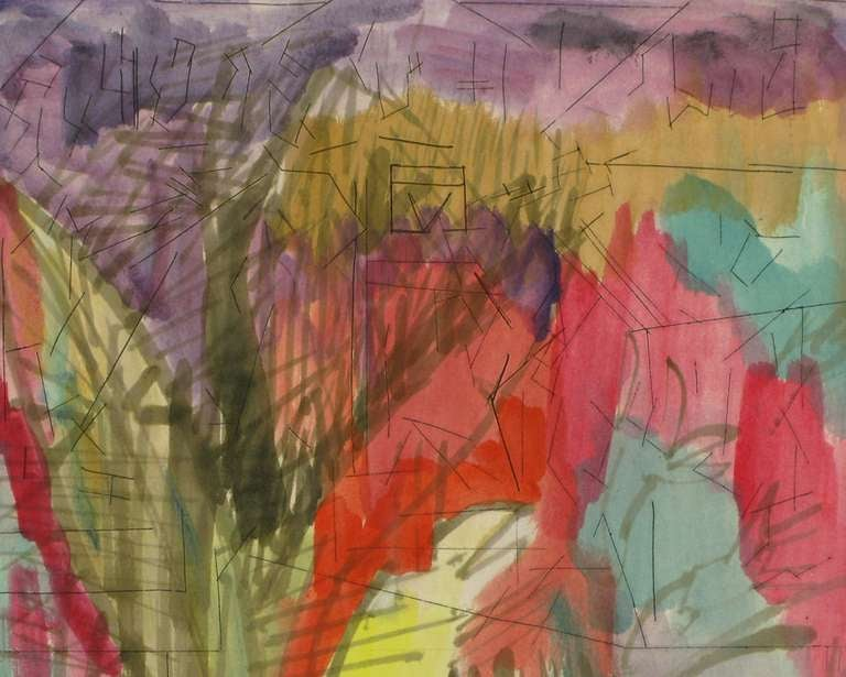 American Jewel Tone Abstract Water Color & Ink Painting For Sale