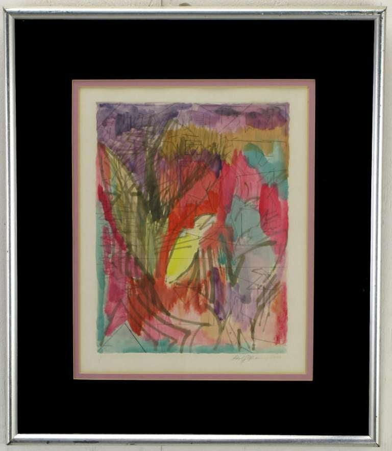 Reds, amethyst, emerald green and yellow water color with ink abstract painting on pressed water color paper and framed in silver leafed frame with black and rose matting. Signed and dated 1979.  Framed art is 22 x 18.75 x 1.5 Art 14.25 x 11.5