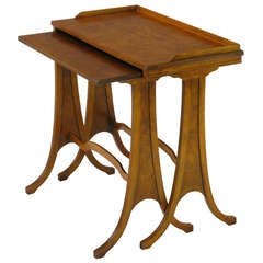 Baker Art Nouveau Style Burled Walnut Nesting Tables
