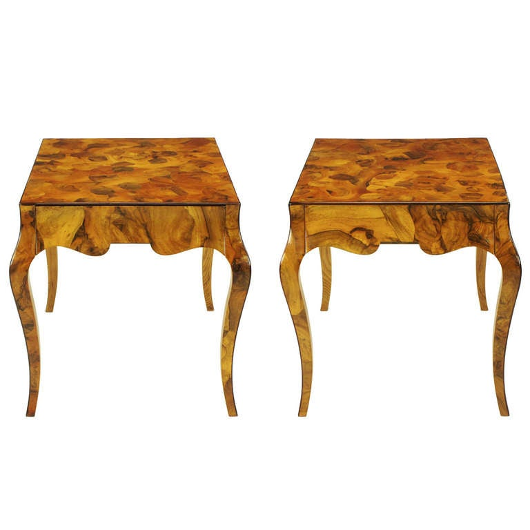 Vintage Burled Cypress Wood Live Edge Side Table At 1stdibs: Pair Italian Oyster Burl Cabriole Leg End Tables At 1stdibs