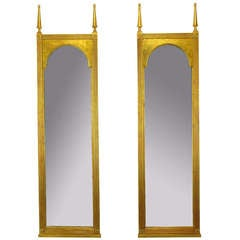 Pair Gilt Wood Double Spire Palladian Arch Mirrors