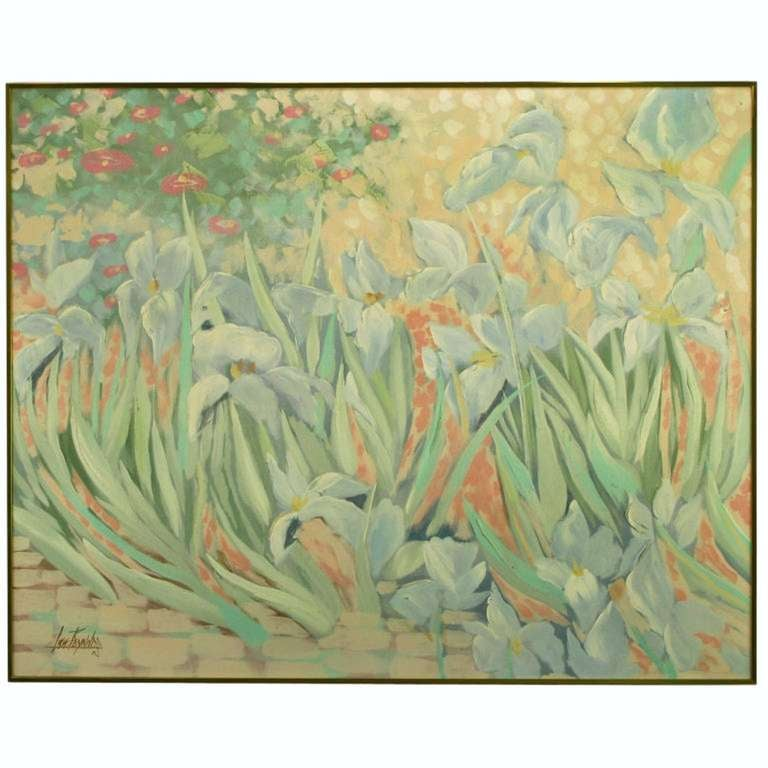 Lee Reynolds, American (1936-), oil on canvas impressionistic garden scene of cobble stones, blue iris, crimson fox gloves and red poppies. Finished in simple brushed brass gallery style frame. Measures: 60
