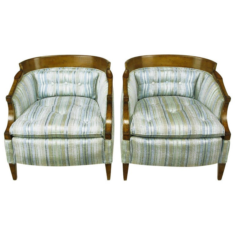 Pair of Oxford Kent Burled Walnut and Aqua Striped Silk Lounge Chairs For Sale