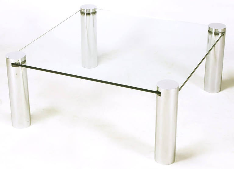 Wondrous Italian Style Chrome Cylinder And Glass Square Coffee Table Home Interior And Landscaping Eliaenasavecom