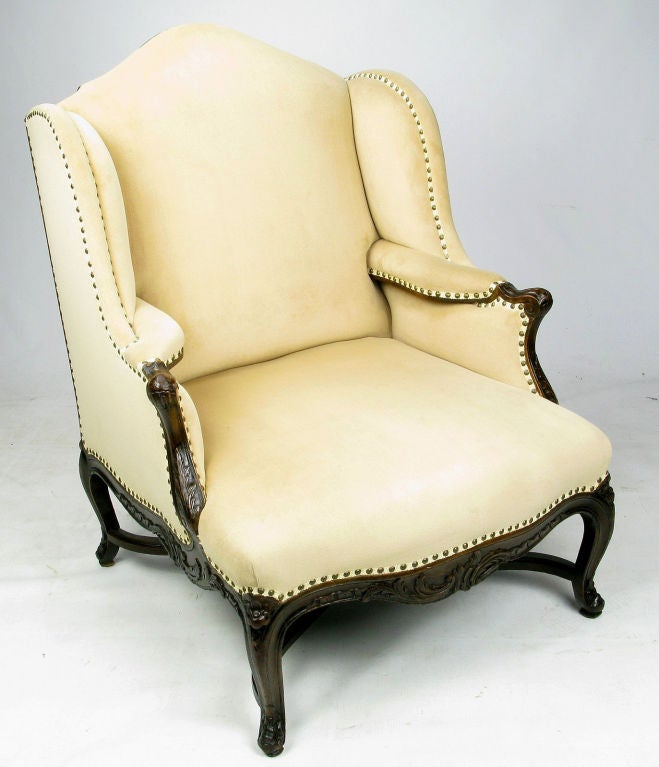 1940s Regence Wing Back Arm Chair And Ottoman In Camel