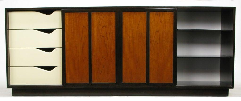 Harvey Probber Dark Mahogany and Figured Walnut Sideboard