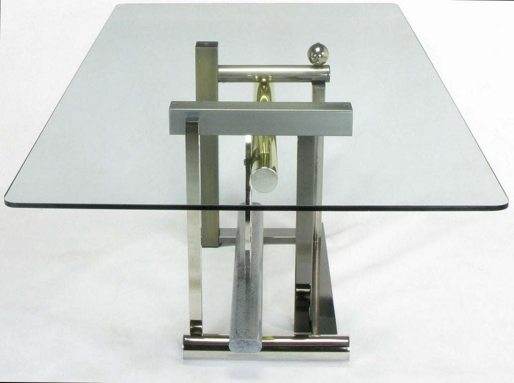 American Design Institute America Metal Sculpture Dining Table For Sale