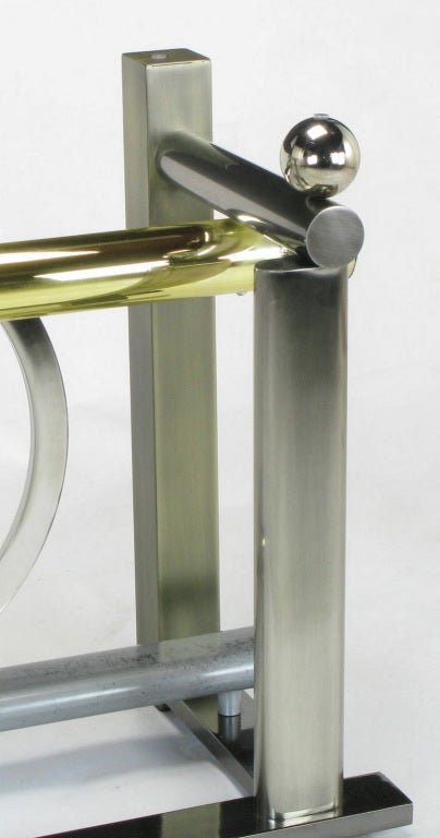 Glass Design Institute America Metal Sculpture Dining Table For Sale