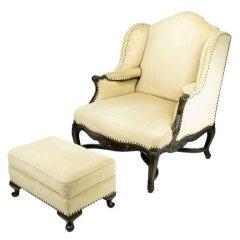 1940s Regence Wing Back Arm Chair & Ottoman In Camel Velvet