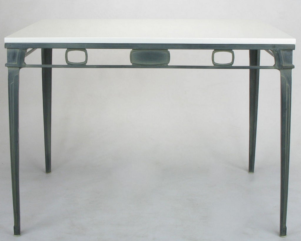 American Verdigris Aluminum and Thassos Porcelain Dining Table For Sale