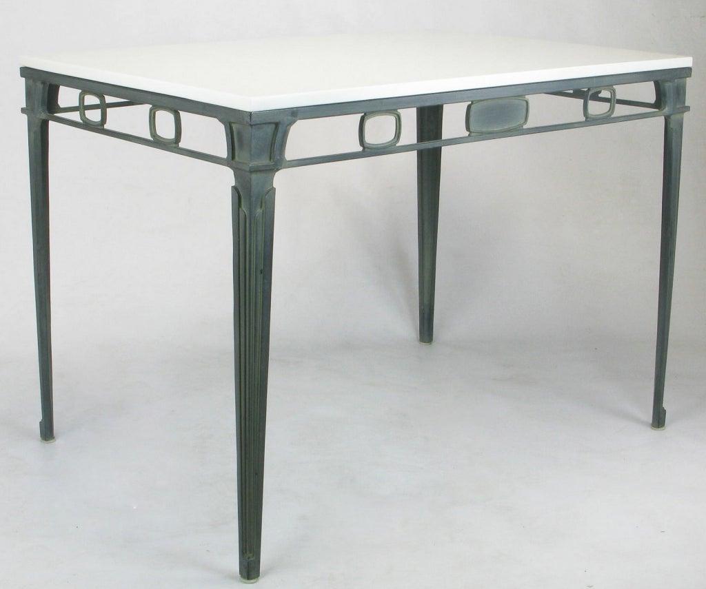 Cast Verdigris Aluminum and Thassos Porcelain Dining Table For Sale