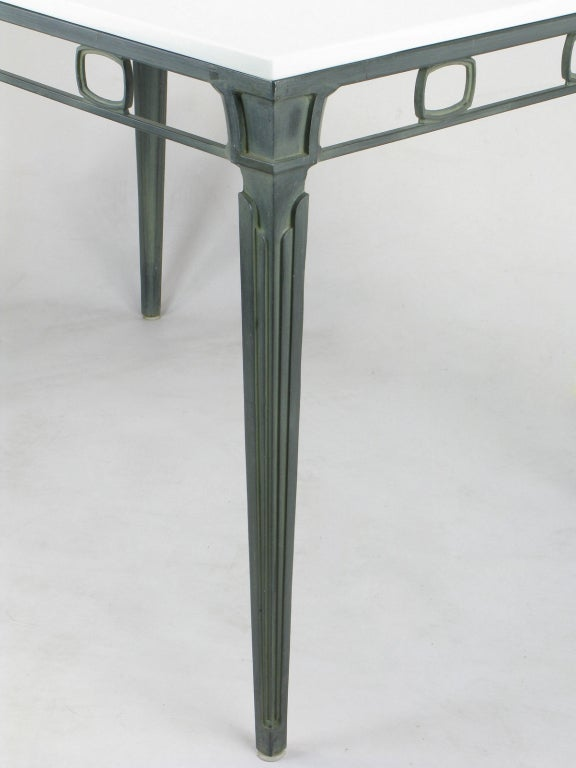 Mid-20th Century Verdigris Aluminum and Thassos Porcelain Dining Table For Sale