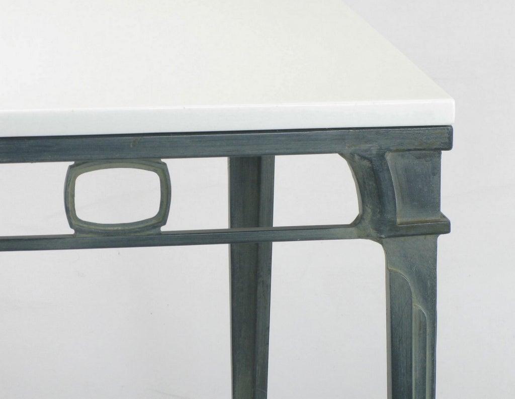Verdigris Aluminum and Thassos Porcelain Dining Table For Sale 1