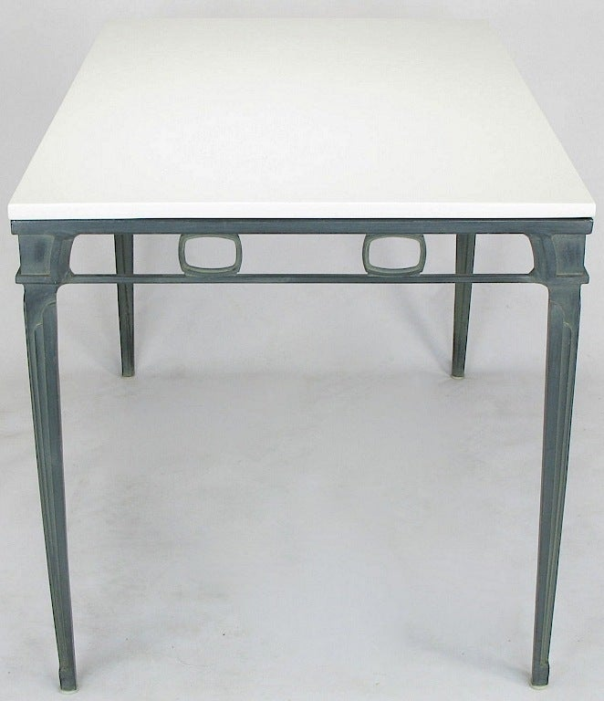 Verdigris Aluminum and Thassos Porcelain Dining Table In Good Condition For Sale In Chicago, IL