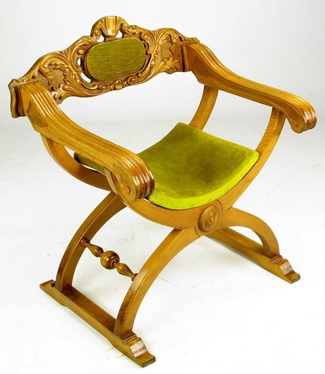 Pair of Italian Curule Campaign Chairs in Wood and Chartreuse Velvet For Sale 2
