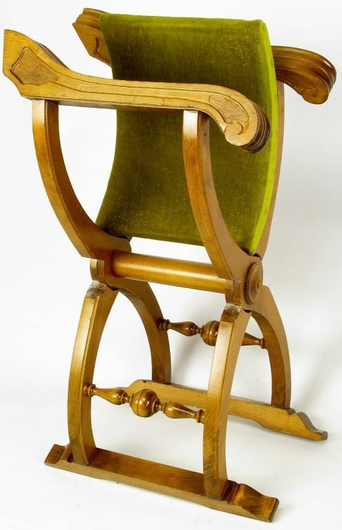 Pair of Italian Curule Campaign Chairs in Wood and Chartreuse Velvet For Sale 4