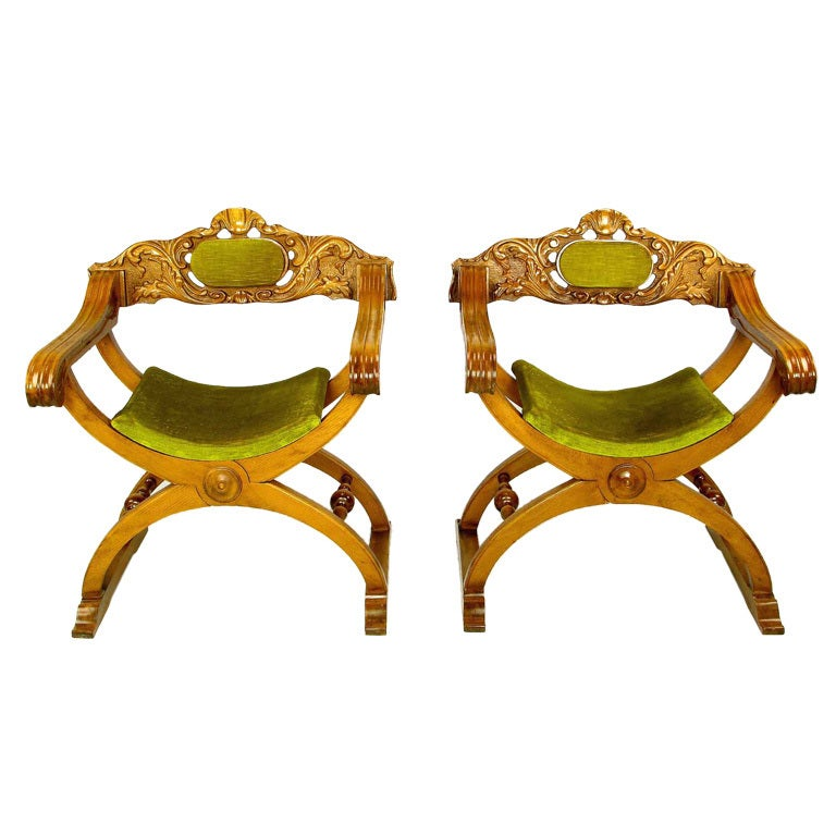 Pair of Italian Curule Campaign Chairs in Wood and Chartreuse Velvet For Sale
