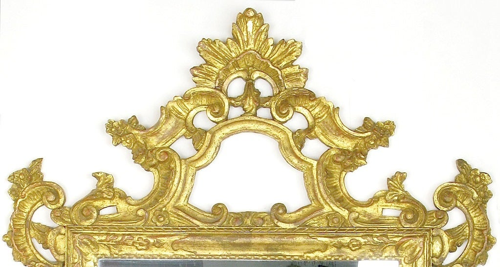 Exquisite Italian Rococo carved and giltwood wall mirror. Excellent size and detail, could be used in any number of applications from the foyer to the master bath to over the fireplace.