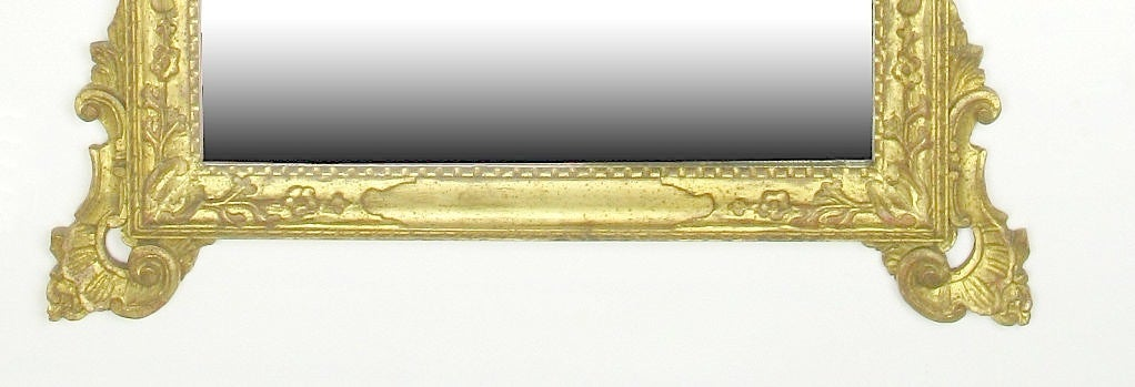 Large Italian Carved and Gilt Wood Rococo Mirror For Sale 1