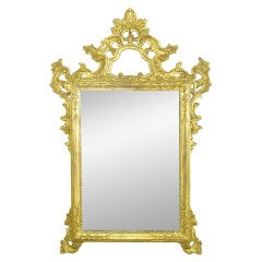 Large Italian Carved & Gilt Wood Rococo Mirror