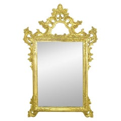 Large Italian Carved and Gilt Wood Rococo Mirror