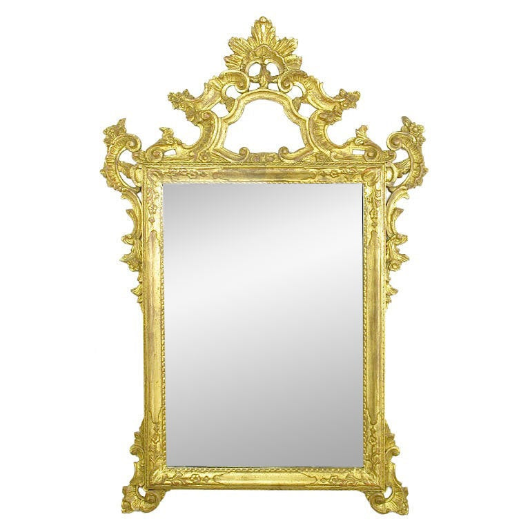Large Italian Carved and Gilt Wood Rococo Mirror For Sale