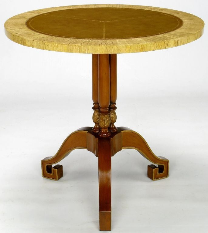 Philippine Walnut and Leather Empire Side Table with Greek Key Feet For Sale