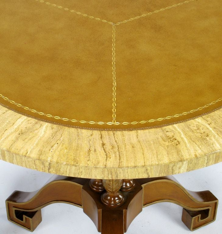 20th Century Walnut and Leather Empire Side Table with Greek Key Feet For Sale