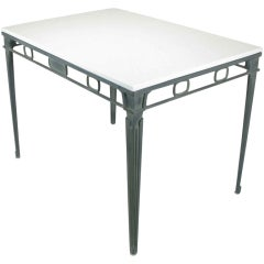 Verdigris Aluminum and Thassos Porcelain Dining Table
