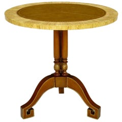Walnut and Leather Empire Side Table with Greek Key Feet