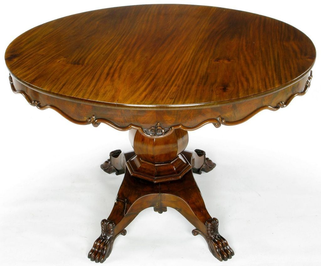 Hand carved walnut italian neoclassical paw foot dining
