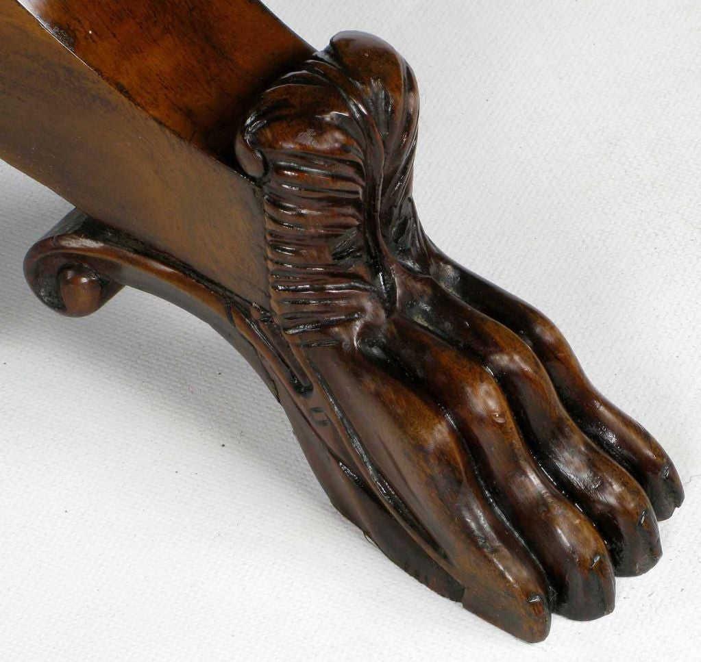 Mid-20th Century Hand-Carved Walnut Italian Neoclassical Paw Foot Dining Table For Sale
