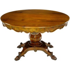 Hand-Carved Walnut Italian Neoclassical Paw Foot Dining Table