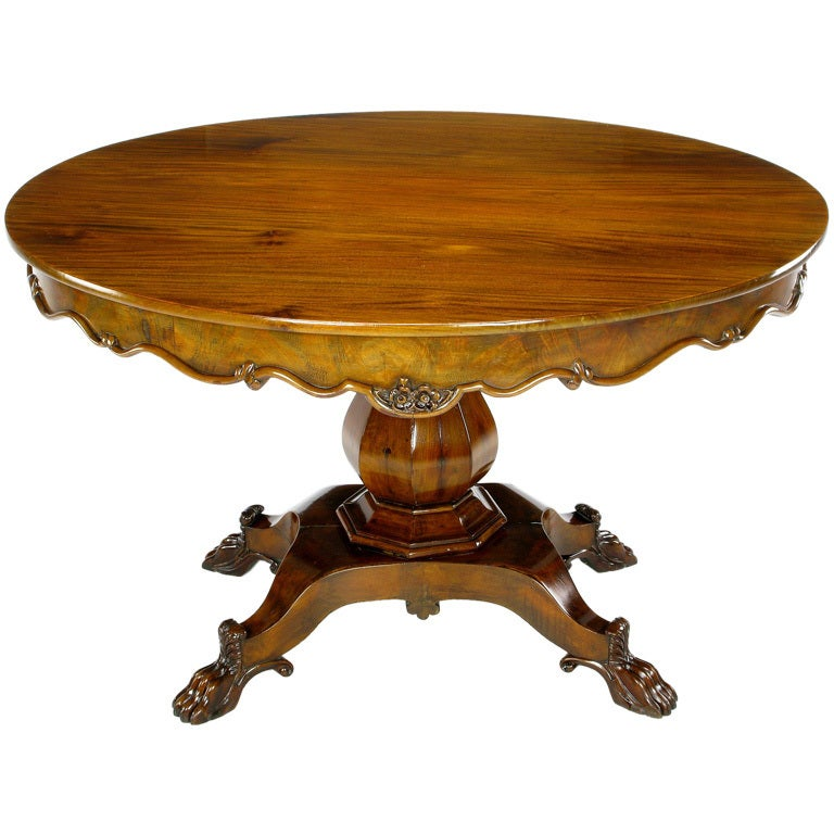 Hand-Carved Walnut Italian Neoclassical Paw Foot Dining Table For Sale