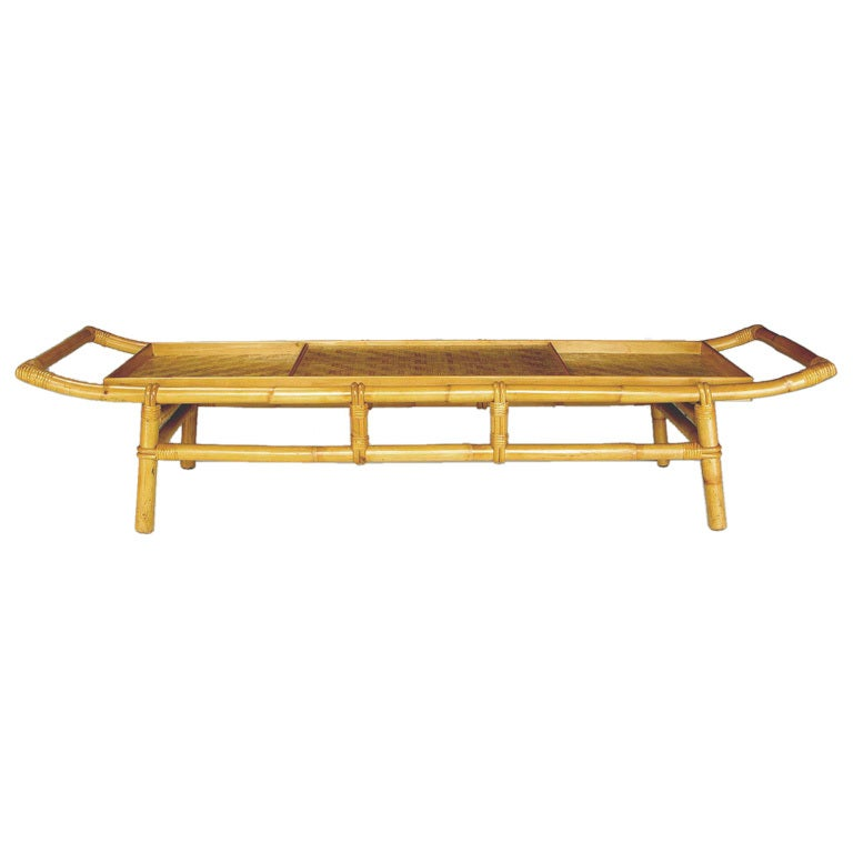 Long Bamboo Coffee Table: John Wisner Long And Low Pagoda Form Bamboo Coffee Table