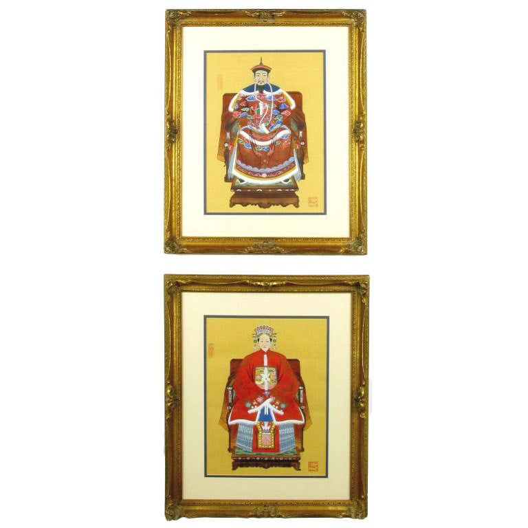 Pair Colorful Chinese Ancestor Portraits
