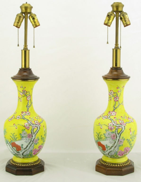 Pair Paul Hanson Yellow Asian Design Ceramic Table Lamps 2