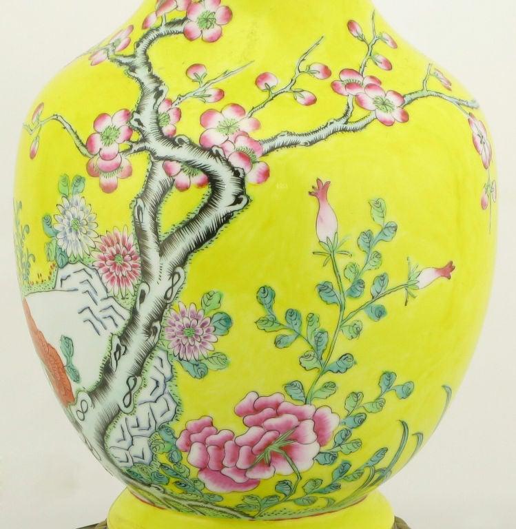 Pair Paul Hanson Yellow Asian Design Ceramic Table Lamps 3