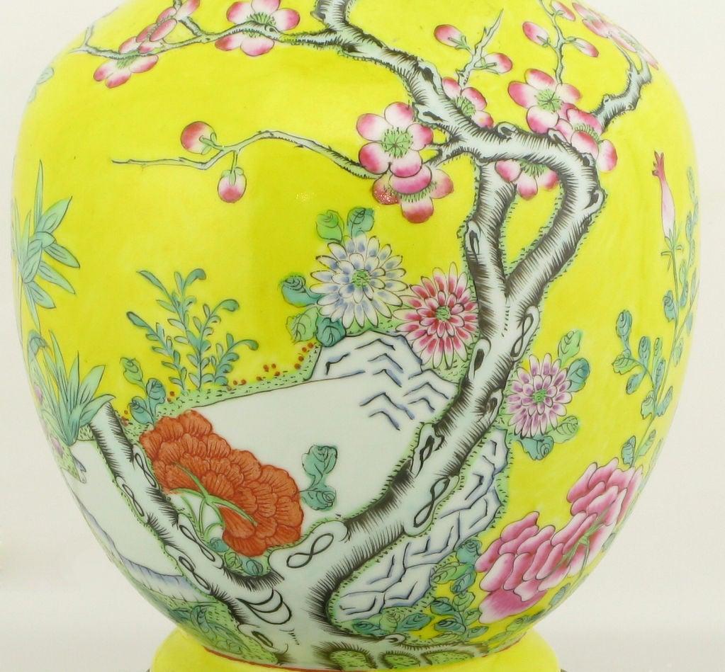 Pair Paul Hanson Yellow Asian Design Ceramic Table Lamps 4