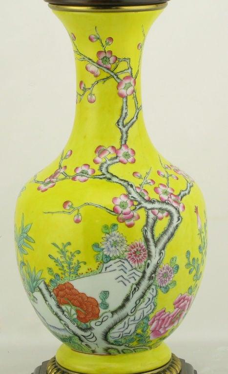 Pair Paul Hanson Yellow Asian Design Ceramic Table Lamps 8