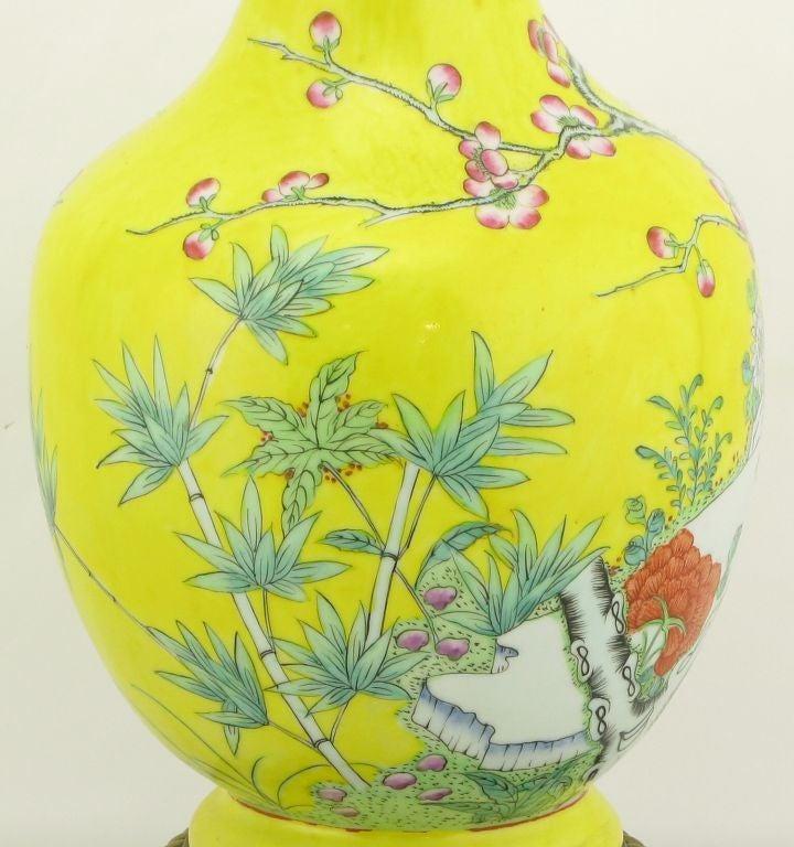 Pair Paul Hanson Yellow Asian Design Ceramic Table Lamps 5