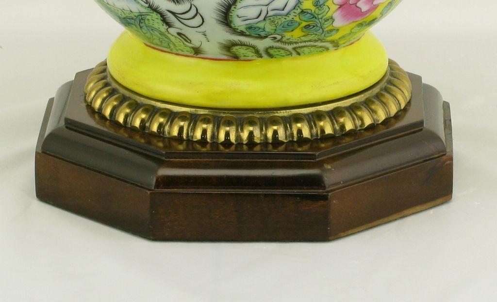 Pair Paul Hanson Yellow Asian Design Ceramic Table Lamps 6
