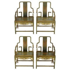 Four Gump's 1940s Hand Painted Chinoiserie Arm Chairs
