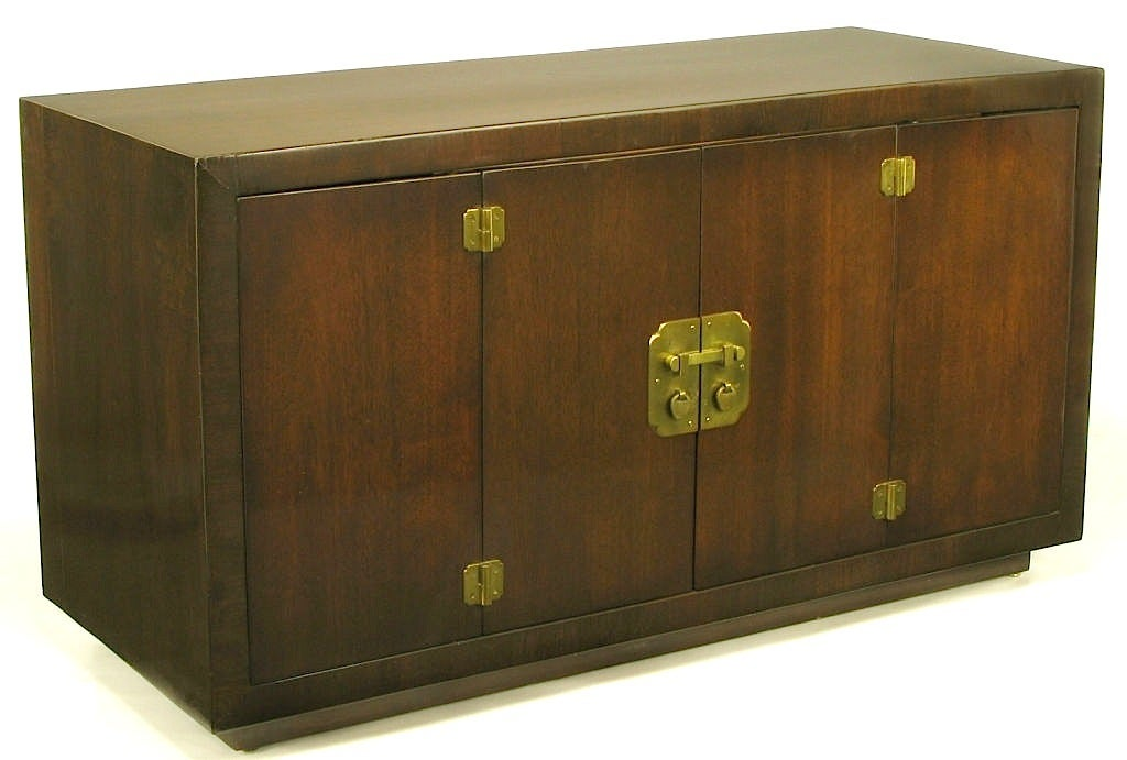 Dark Walnut Chinese Style Cabinet With Heavy Brass