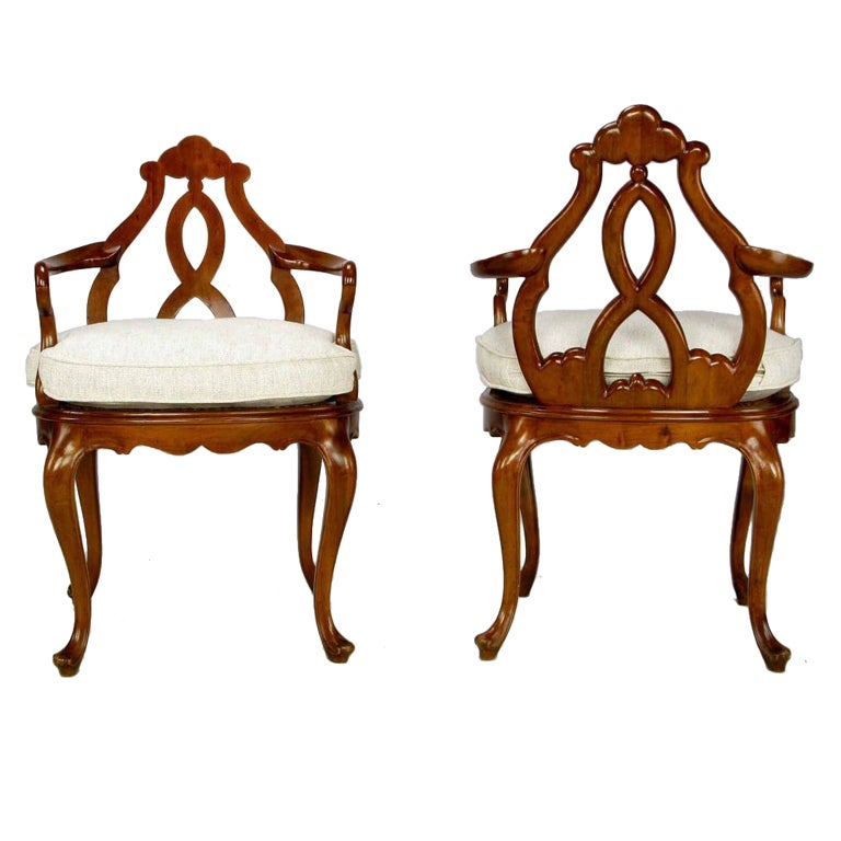 Pair of Italian Biedermeier Hand-Carved Fruitwood Armchairs
