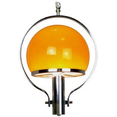 Spherical Amber Cased Glass and Chrome Chandelier