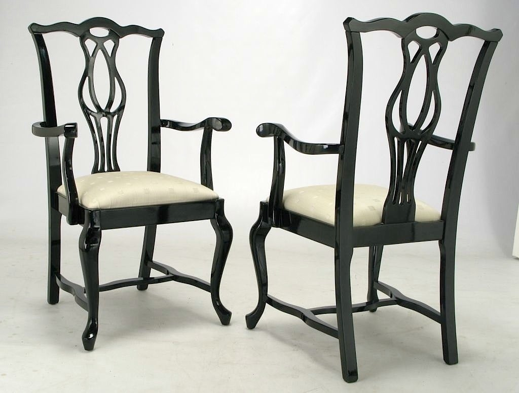 Six italian black lacquer chinese chippendale dining for Black dining room chairs