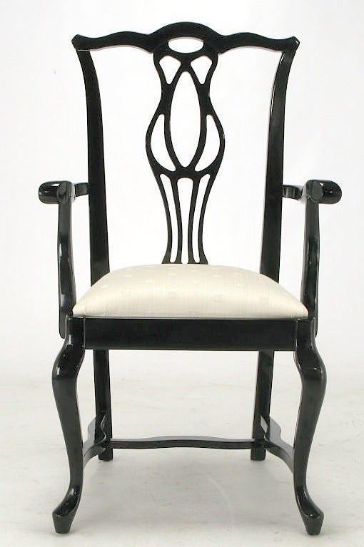 this six italian black lacquer chinese chippendale dining chairs is no