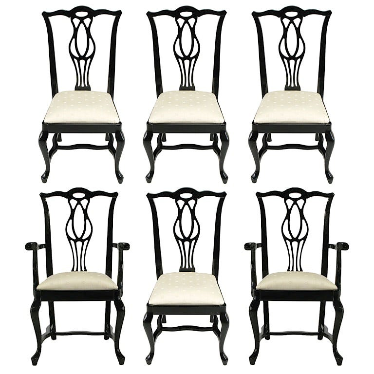 Six Italian Black Lacquer Chinese Chippendale Dining